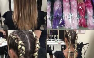 Плетение кос с цветными канекалонами